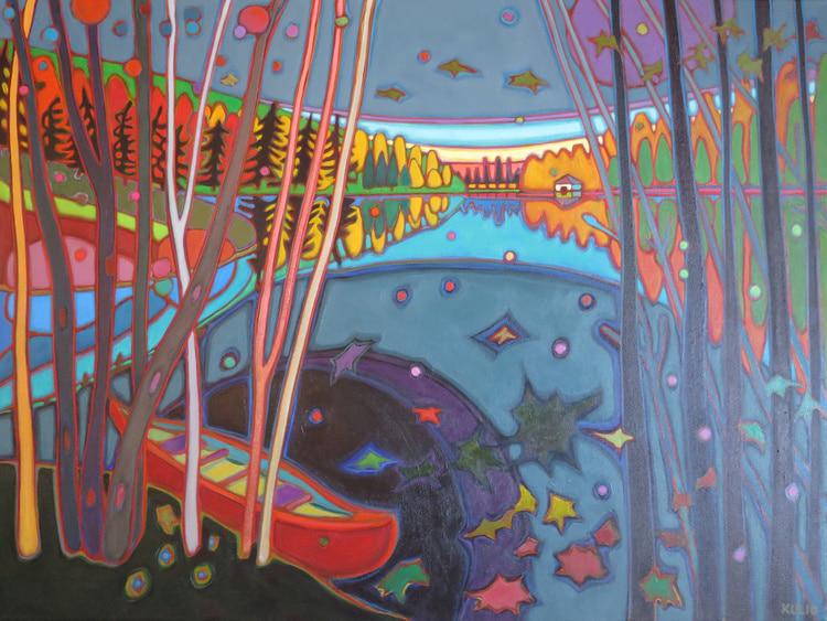 Autumn Colours - Harvest Moon on Red Canoe 40 x 30 - Darlene Kulig