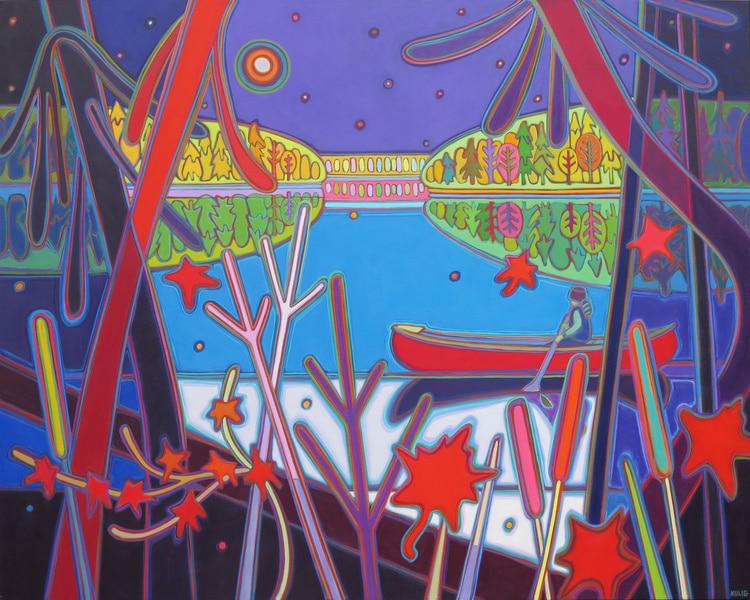 Autumn Colours - Midnight Canoe Ride on Still Waters 48 x 60 Darlene Kulig