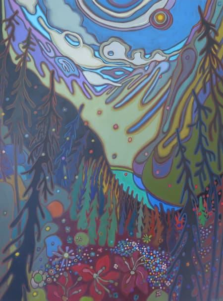 Canadian Rockies - Cascading Wildflowers and Mountain View 36 x 48 - Darlene Kulig