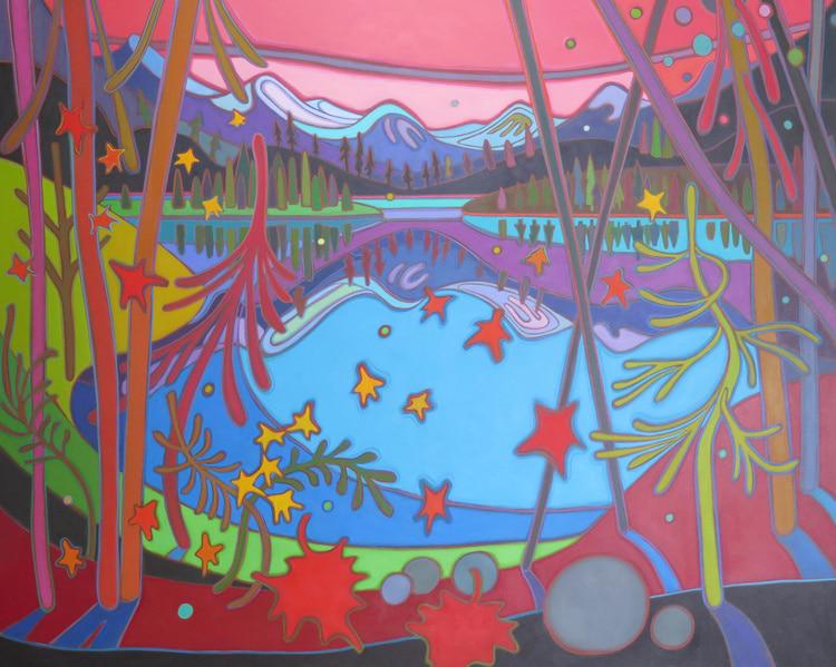Canadian Rockies - Grant Vista in Crimson Sunset 48 x 60 - Darlene Kulig