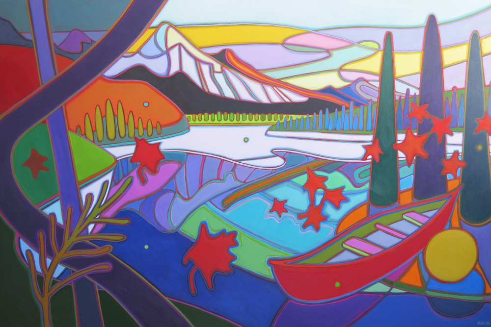 Canadian Rockies - Last Canoe Ride of the Season 40 x 60 - Darlene Kulig