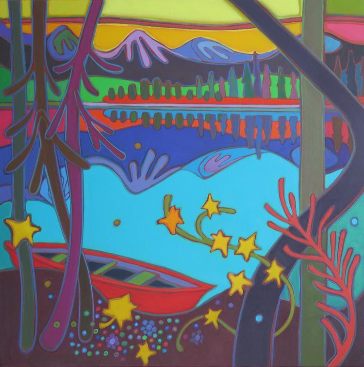Canadian Rockies - Red Canoe in Yellow Dawn 30 x 30 - Darlene Kulig