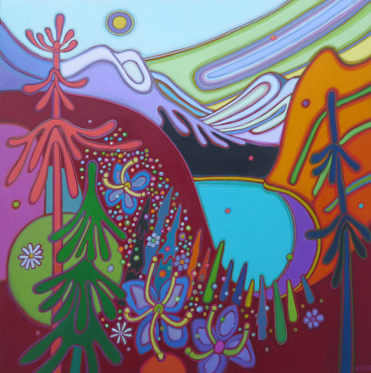 Canadian Rockies - Rocky Mountains with Turquoise Lake with Cascading Wildflowers 36 x 36 - Darlene Kulig