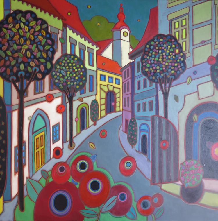 Europe - Prague Old City 36 x 36 - Darlene Kulig