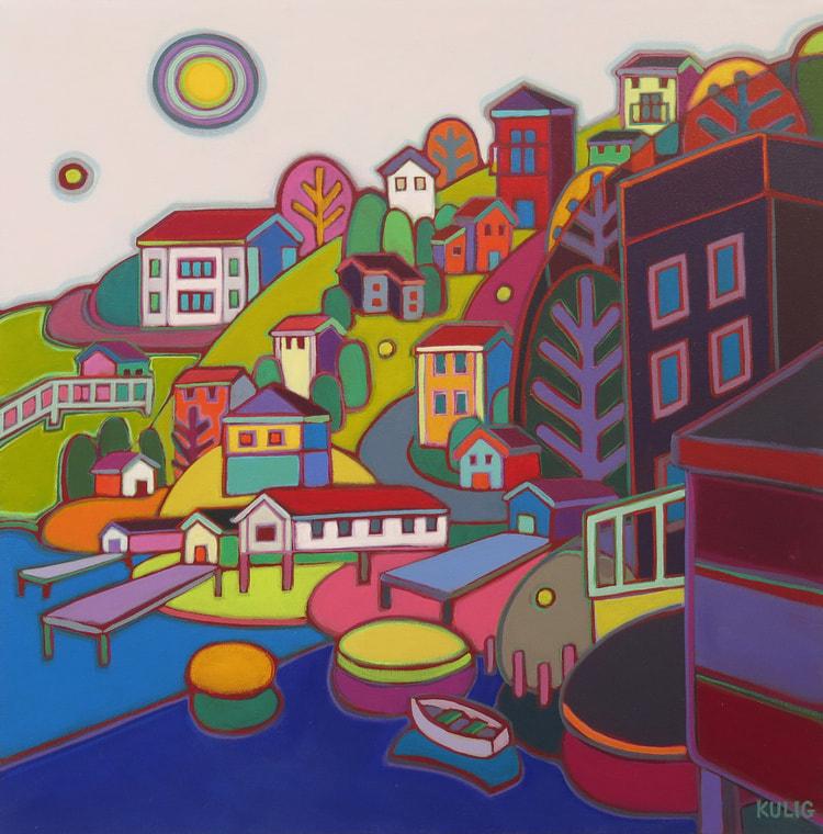 Newfoundland - Jellybean Hill 20 x 20 - Darlene Kulig