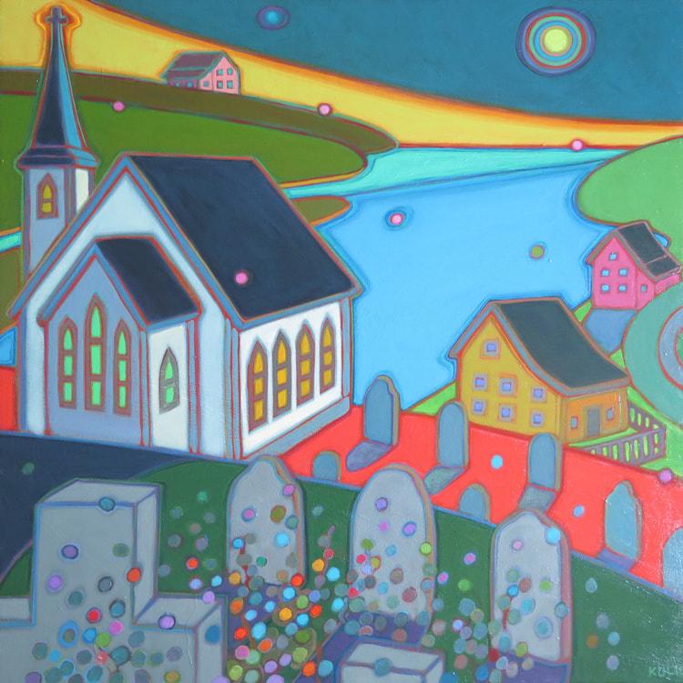 Newfoundland - Moonlight Glow On the Village 30 x 30 - Darlene Kulig