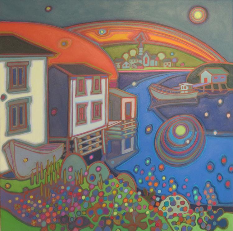 Newfoundland - Twilight on Fishing Village 30 x 30 - Darlene Kulig