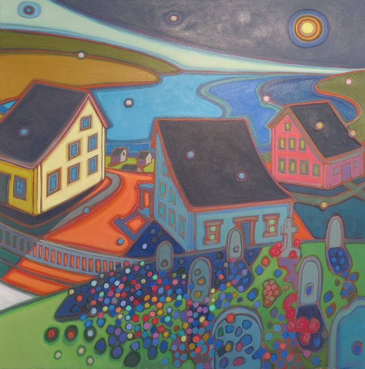 Newfoundland - Village Looking out to the Atlantic 30 x 30 - Darlene Kulig