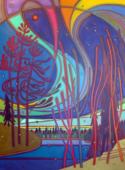 Northern Lights - Northern Lights The Bird 36 x 48 - Darlene Kulig