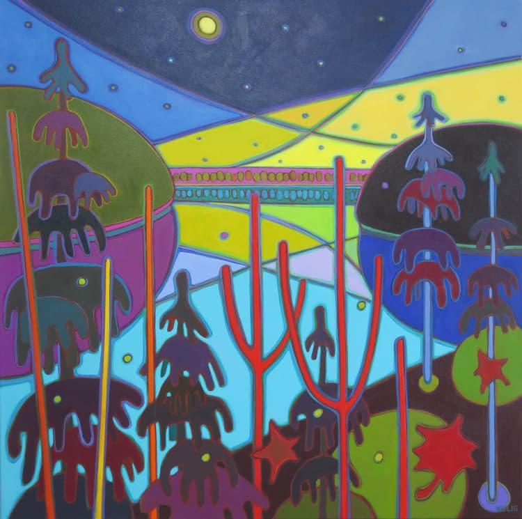 Northern Lights - Northern Lights Yellow and Violet Sky on Turquoise Lake 36 x 36 - Darlene Kulig
