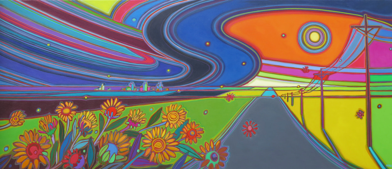 Prairies - Prairie Storm Gumweed Dance 36 x 84 - Darlene Kulig