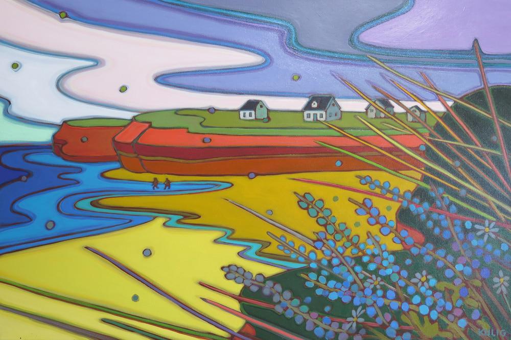 Prince Edward Island - Beach Walk Shifting Sky 24 x 36 - Darlene Kulig