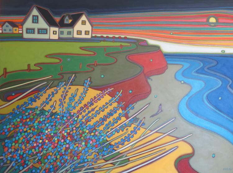 Prince Edward Island -Beach Walk in Sunset Sky 36 x 48 - Darlene Kulig