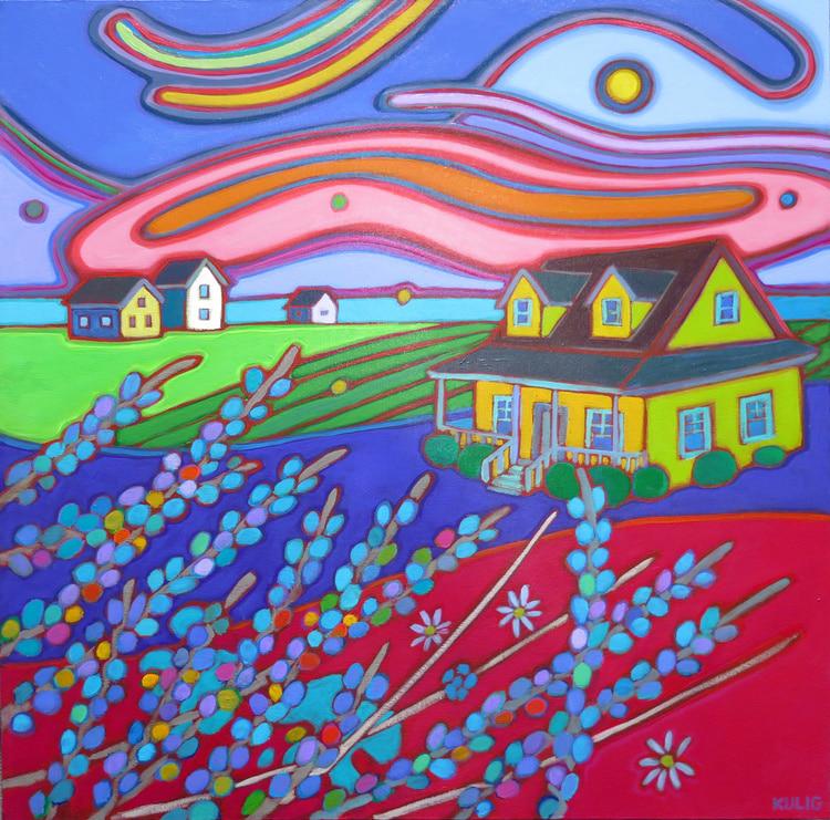 Prince Edward Island - Yellow House Rainbow Sky 24 x 24 - Darlene Kulig