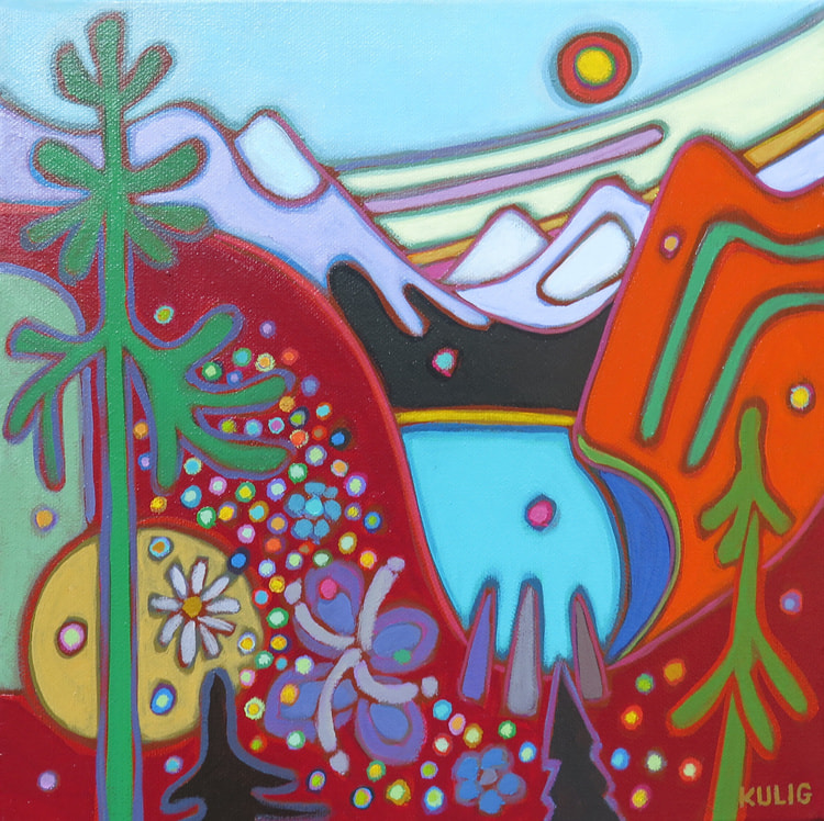 Small Canvases - Alberta Big Sky and Mountains 12 x 12 - Darlene Kulig