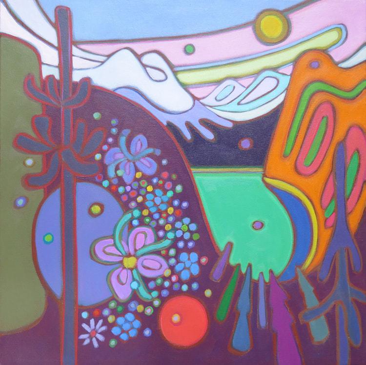 Small Canvases - Emerald Lake Icy Blue Sky 16 x 16 - Darlene Kulig