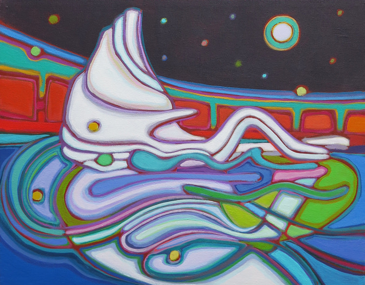 Small Canvases - Iceberg Reclining in Emerald Moonlight 11 x 14 - Darlene Kulig