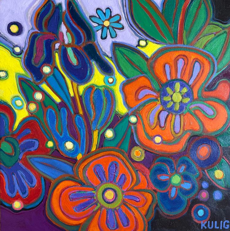 Small Canvases - Poppy Explosion 12 x 12 - Darlene Kulig