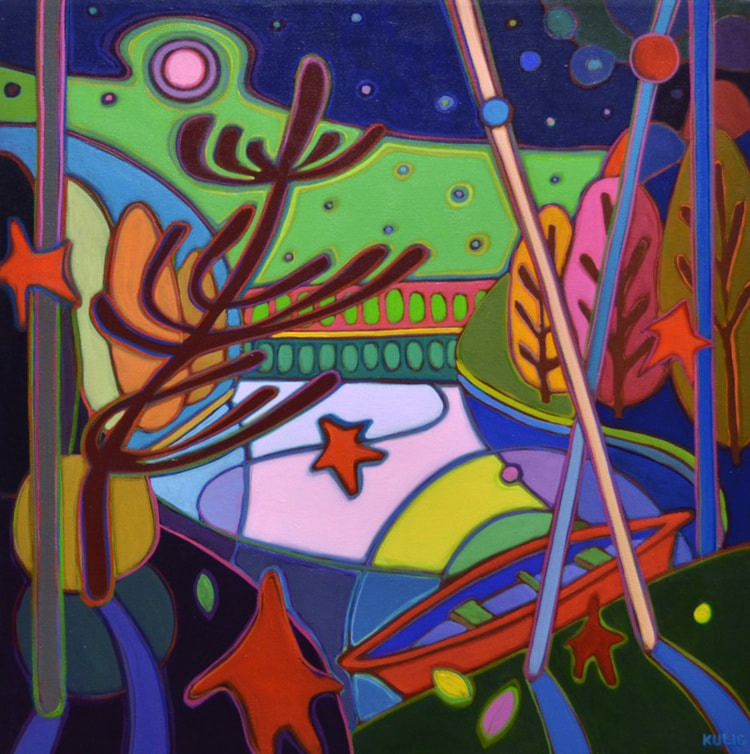 Small Canvases - Strawberry Moon on Red Canoe and Dancing Pine - Darlene Kulig