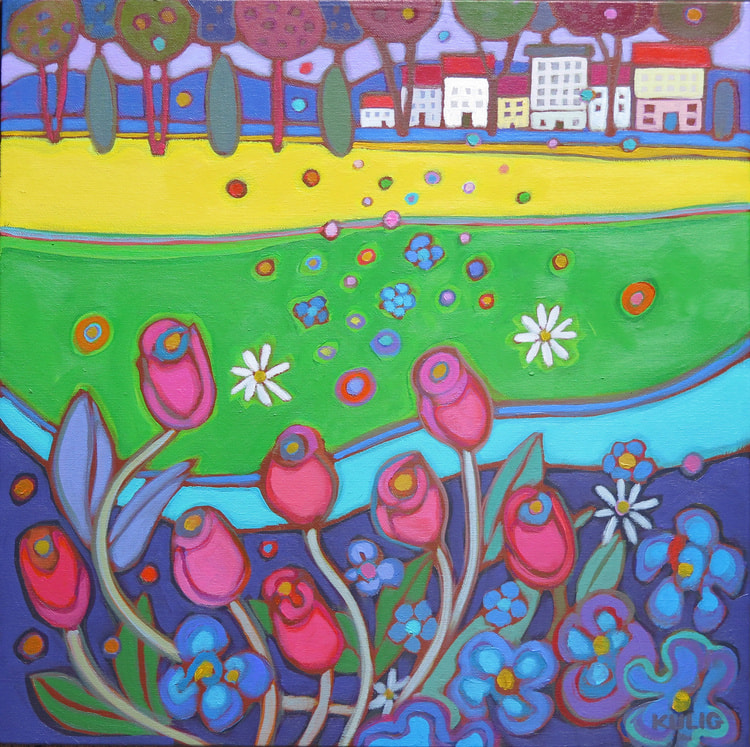 Small Canvases - Vienna in the Park 16 x 16 - Darlene Kulig