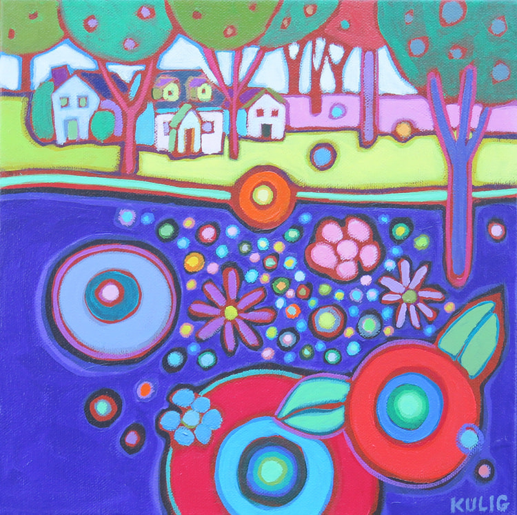 Small Canvases - Village in the Countryside 12 x 12 - Darlene Kulig
