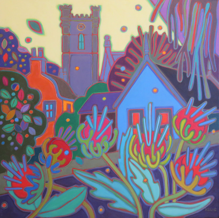 Small Towns and Villages - Abbey in Village with Giant Thistles 30 x 30 - Darlene Kulig