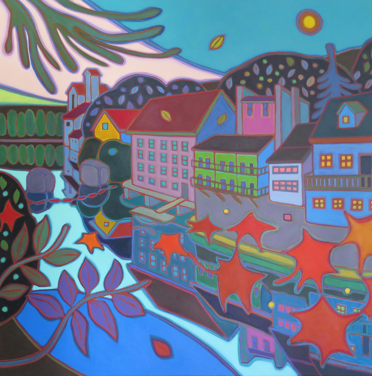 Small Towns and Villages - Elora River Reflections 36 x 36 - Darlene Kulig (1)