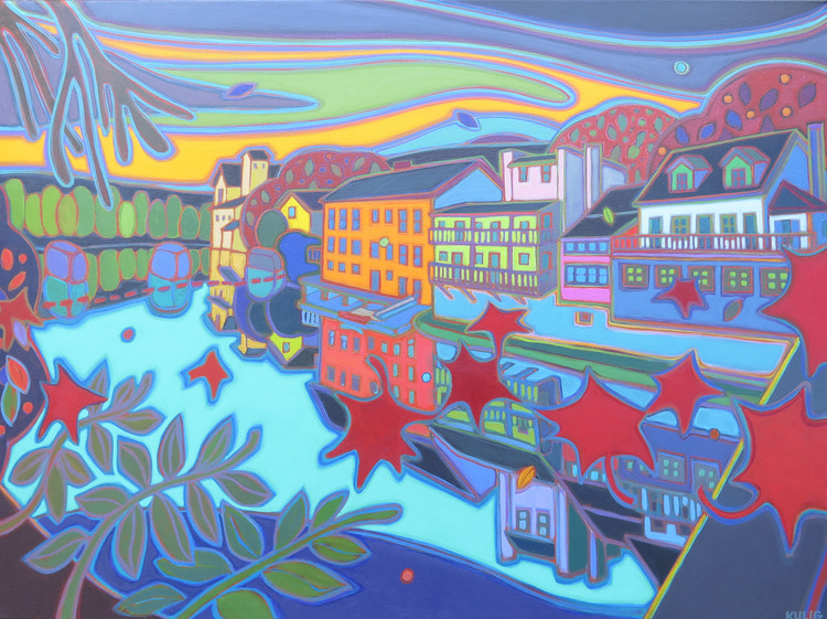 Small Towns and Villages - Elora Sunset Sky 40 x 30 - Darlene Kulig