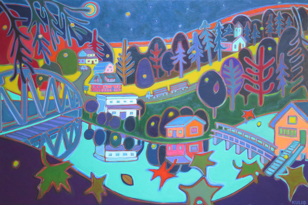 Small Towns and Villages - Kinmount Evening over the Mil 36 x 24 - Darlene Kulig
