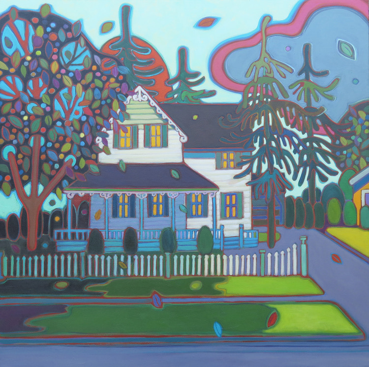 Small Towns and Villages - White Picket Fence 30 x 30 - Darlene Kulig