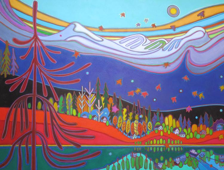 Tugboat Series - Mountainscape with Rainbow Sky and Little Tugboat 36 x 48 - Darlene Kulig