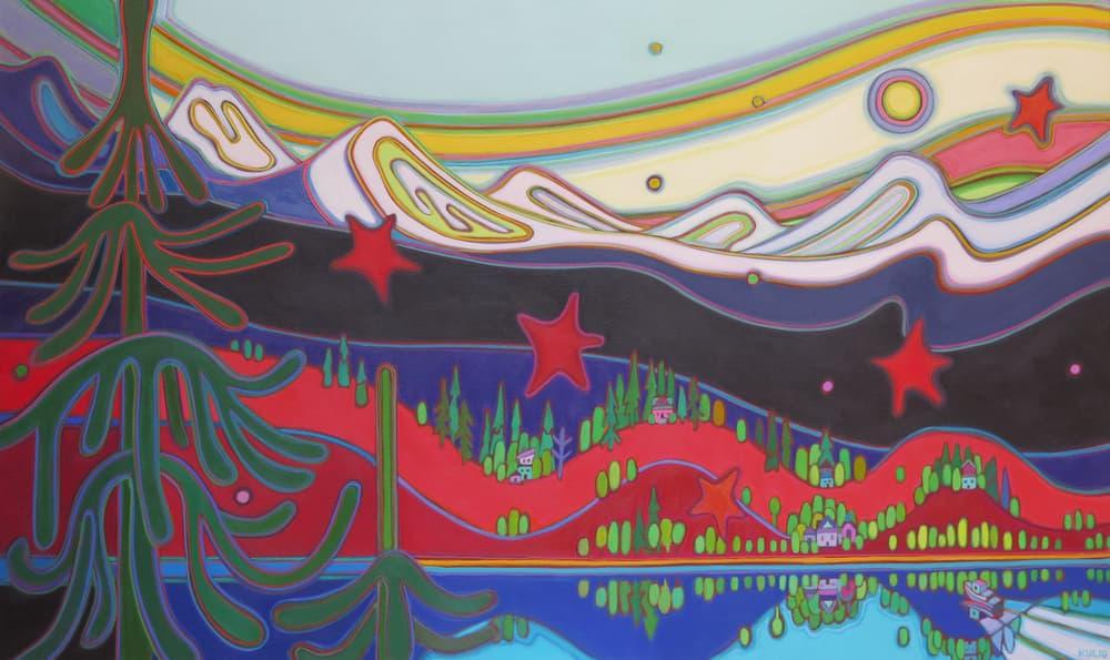 Tugboat Series - Tugboat Homeward Bound Rainbow Sky 36 x 60 - Darlene Kulig