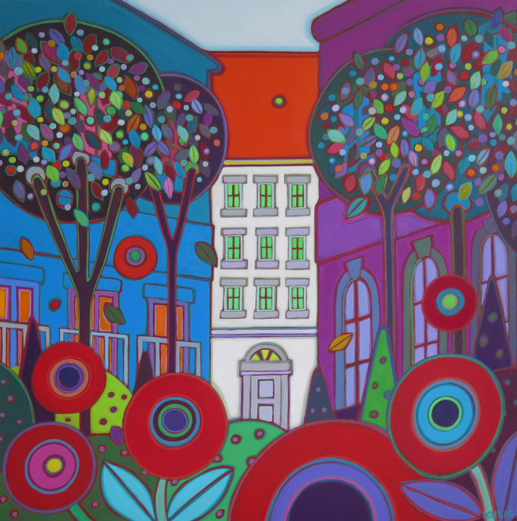 Vienna - Red Roof Down the Avenue 36 x 36 - Darleen Kulig
