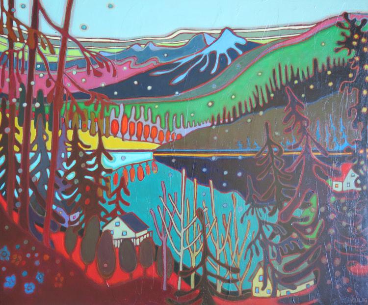 Whistler - Mountain View across Turquoise Lake 30 x 36 - Darlene Kulig