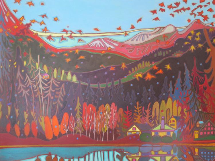 Whistler - Mountain View on the way to Pemberton 36 x 48 - Darlene Kulig