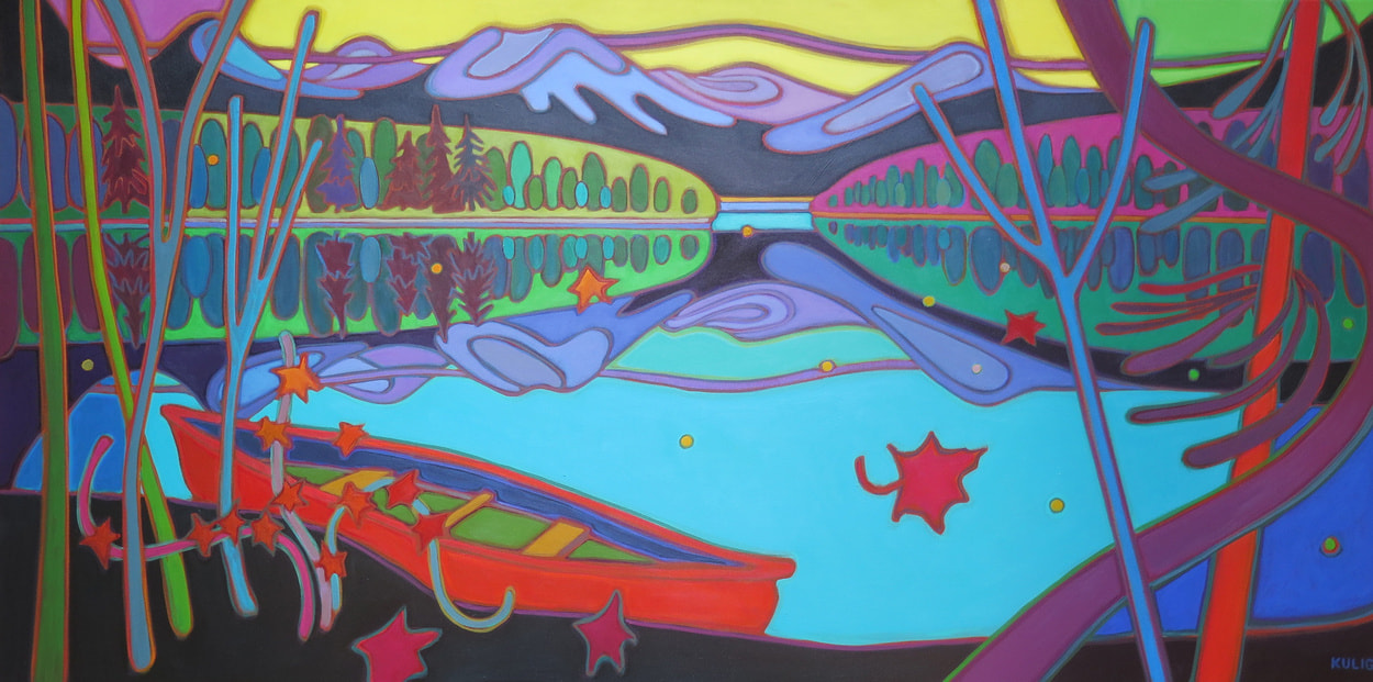 Whistler - Yellow Sky on Turquoise Lake with Red Canoe at Rest 30 x 60 - Darlene Kulig