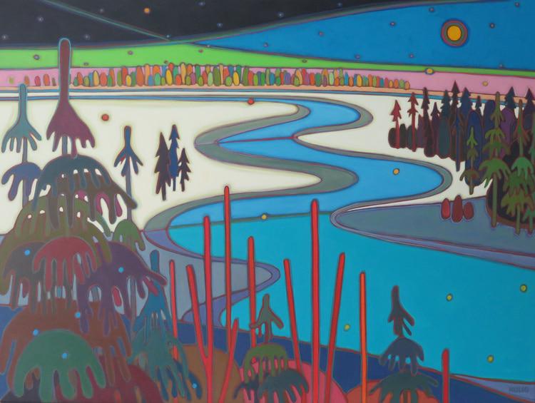 Winter Wonderland - Moon River Midnight Sky Yellow Moon 36 x 48 - Darlene Kulig