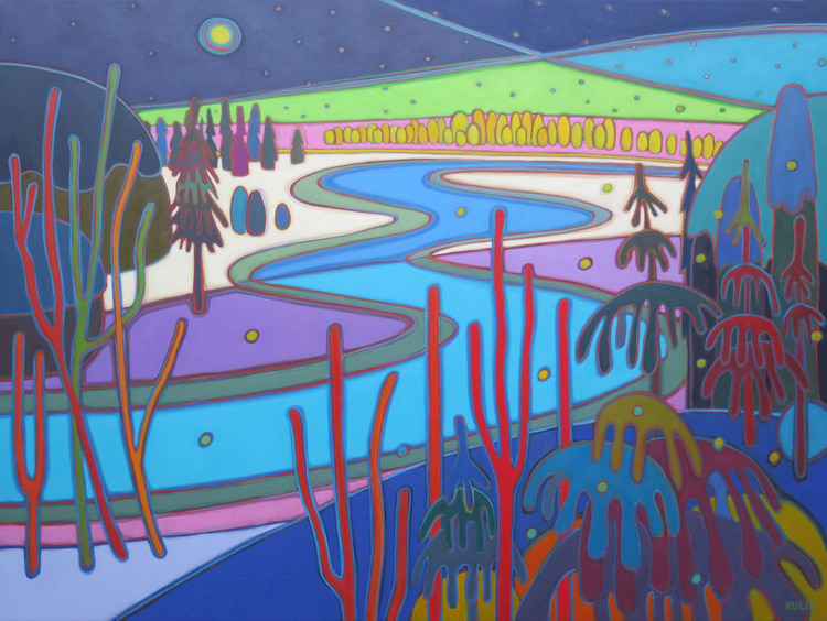 Winter Wonderland - Moon River Northern LIghts at Midnight 36 x 48 - Darlene Kulig