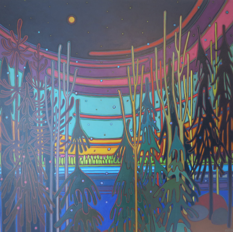 Winter Wonderland - Moonlit Bay Starry Night 48 x 48 - Darlene Kulig