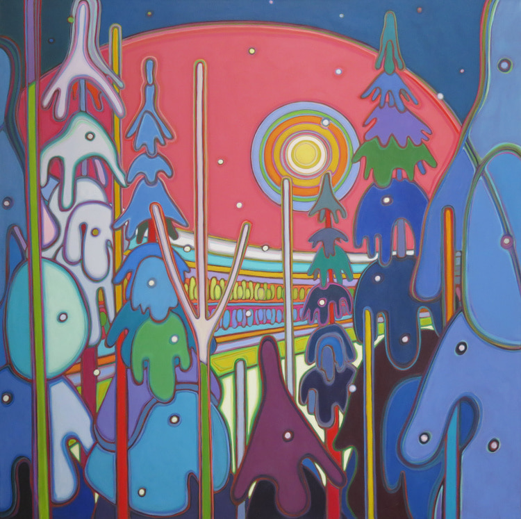 Winter Wonderland - Twilight Glow on the Snow Laden Trees 48 x 48 - Darlene Kulig