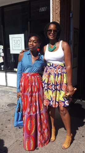 Designer (Left): Iguehi of LoveIguehi (instagram @loveiguehi) standing beside patron and friend: Kelley (right); skirt by LoveIguehi - $85.00.