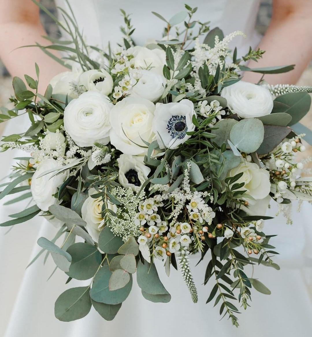 Darling Buds White and green bridal bouquet
