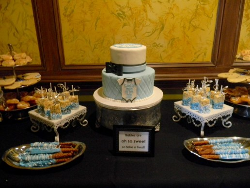 Dessert table package including gourmet pretzels, rice krispy pops and chocolate covered strawberries