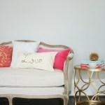 Gold Sequin Word Script Pillow Tutorial