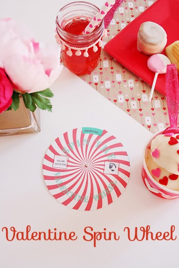 valentine spin the Wheel party, valentine party, valentine games, free printables