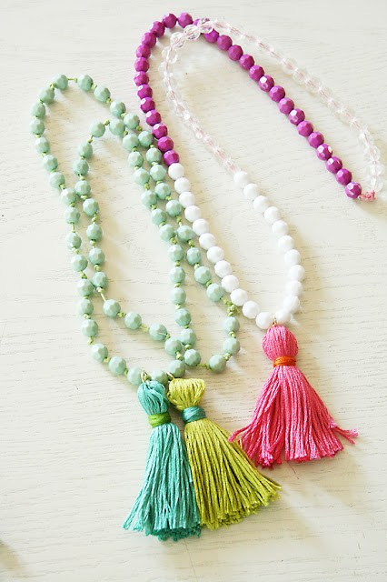 tassel necklaces with beaded necklace, embroidery thread tassels, DIY, how to make