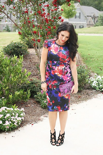 floral dress, purple dress, darling darleen, darleen meier jewelry, betsey johnson
