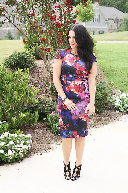 floral dress, betsey Johnson, fall dress, purple and blue dress