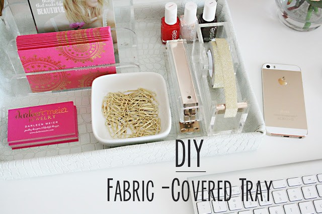 diy, diy projects, fabric-covered tray, white faux crocodile animal skin fabric