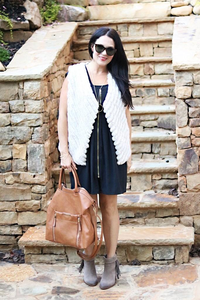 fur white vest black dress fall fashion